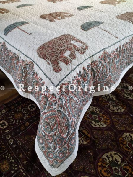 Quilted Block Printed High Quality Double Bedspread in White & Brown with 2 Shams; Bedspread 110 x 90 Inches , Pillow Shams 29 x 19 Inches; RespectOrigins.com