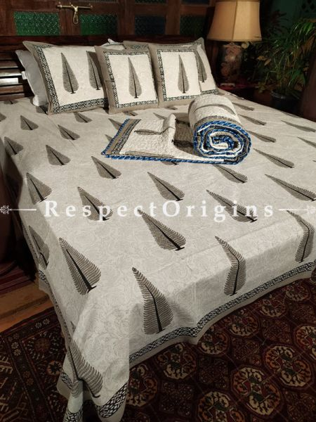 Raykaa, Luxury Reversible Quilted Pure Organic Cotton Bedding Set; Comforter: 105x85 Inches; Bedspread: 105x90 Inches; Pillow Pair: 28x20 Inches; Cushion Pair: 16x16 Inches; Multi-coloured
