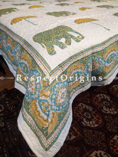 Quilted Block Printed High Quality Double Bedspread in White, Green & Yellow with 2 Shams; Bedspreaed 110 x 90 Inches , Pillow Shams 29 x 19 Inches; RespectOrigins.com
