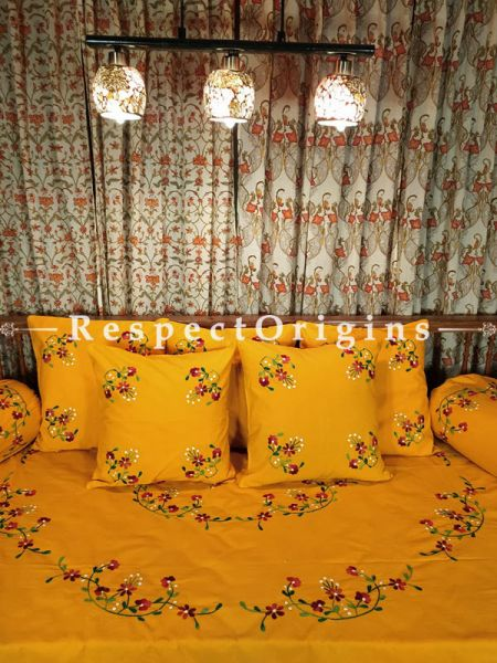 Marigold Joy! Rich Red Hand-embroidered Needlepoint Florals on Rich Pure Cotton; Day Bed Diwan Set with Cover, 5 Throw Pillows and 2 End Pillows.. Sheet- 90x60 Inches, Pillows- 17x17 Inches, End Pillows- 33x17 Inches-Mu-50171-70193