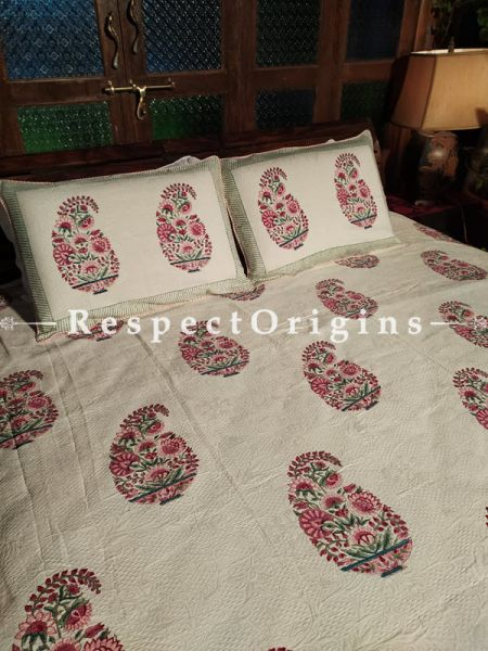Quilted Block Printed High Quality Double Bedspread in Beige with 2 Shams; Bedspread 115 x 90 Inches , Pillow Shams 29 x 19 Inches; RespectOrigins.com