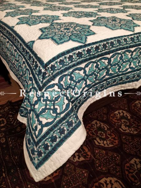 Quilted Block Printed High Quality Double Bedspread in Green with 2 Shams; Bedspread 110 x 90 Inches , Pillow Shams 29 x 19 Inches; RespectOrigins.com