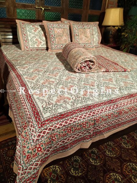Fabio Luxury Reversible Quilted Pure Organic Cotton Bedding Set; Comforter: 105x85 Inches; Bedspread: 105x90 Inches; Pillow Pair: 28x20 Inches; Cushion Pair: 16x16 Inches; Multi-coloured