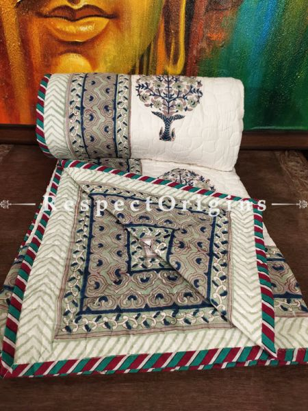 Quilted Block Printed High Quality Double Bedspread In White With Tree Motifs With 2 Shams; Bedspread 90 X 60 Inches