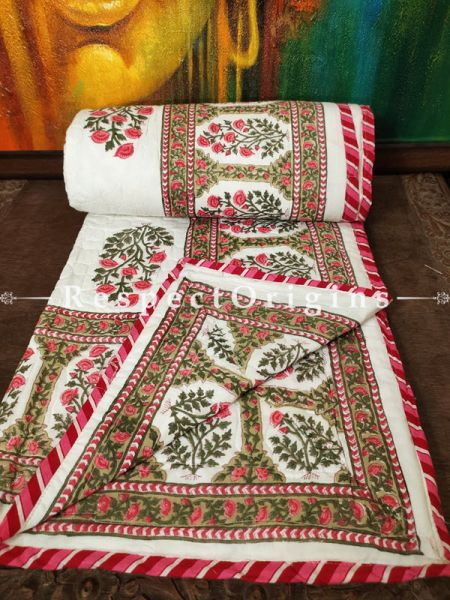 Quilted Block Printed High Quality Double Bedspread In White, Green & Pink With 2 Shams; Bedspread 90 X 60 Inches , Pillow Shams 29 X 19 Inches; RespectOrigins.com