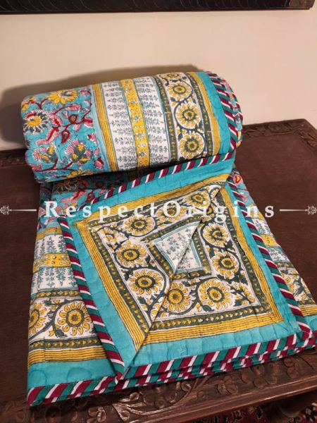 Quilted Block Printed High Quality Double Bedspread In Blue & Mustard With 2 Shams; Bedspread 90 X 60 Inches,Pillow Shams 29 X 19 Inches; RespectOrigins.com