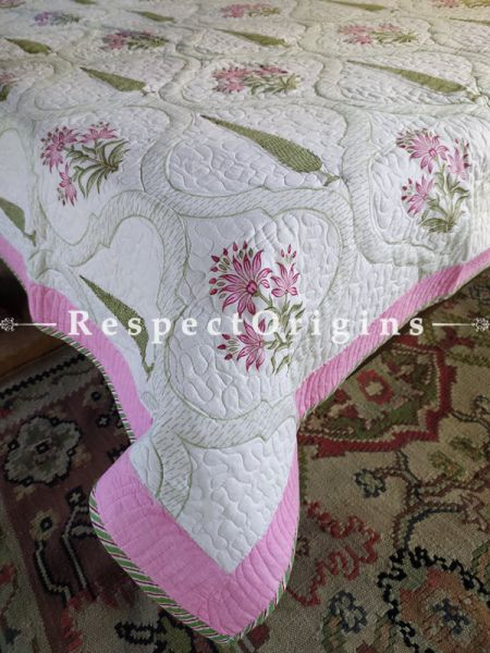 White with Pink Quilted Block Printed High Quality Double Bedspread with Leaf Motifs, 2 Shams; Bedspread 110 X 90 Inches , Pillow Shams 29 X 19 Inches ; RespectOrigins.com