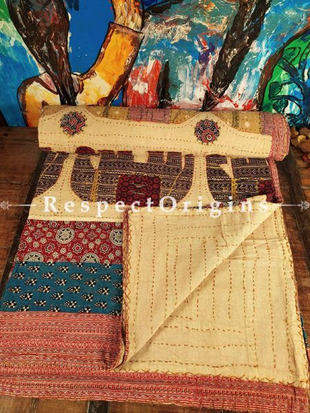 Gorgeous Kantha Stitch Applique Embroidered quilted King Size Bed-spread; RespectOrigins.com
