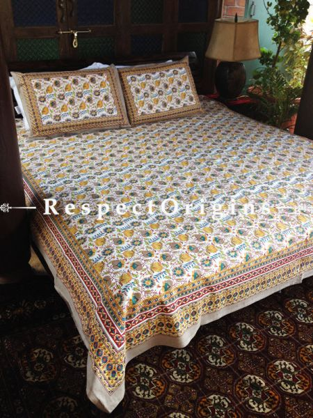 Classy Pure Cotton King Bed Spread Set, White with Yellow & Blue Country Floral Motifs in Block Print; Bed Spread; 105 X 90 In; Pillow Shams; 30 X 20 In; RespectOrigins.com