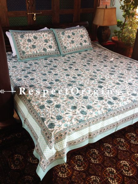 Exquisite Pure Cotton King Bed Spread Set, White with Sea Green Country Floral Motifs in Block Print; Bed Spread; 105 X 90 In; Pillow Shams 30 X 20 In; RespectOrigins.com