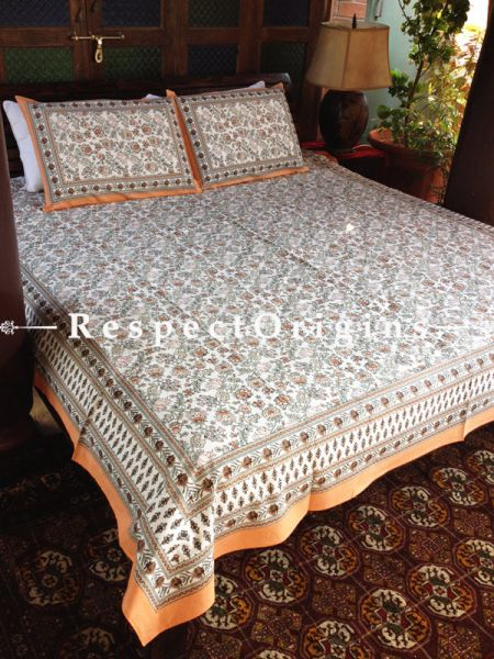 Plush Pure Cotton King Bed Spread Set, White With Multi Color Country Floral Motifs In Block Print; Bed Spread; 105 X 90 In; Pillow Shams; 30 X 20 In; RespectOrigins.com