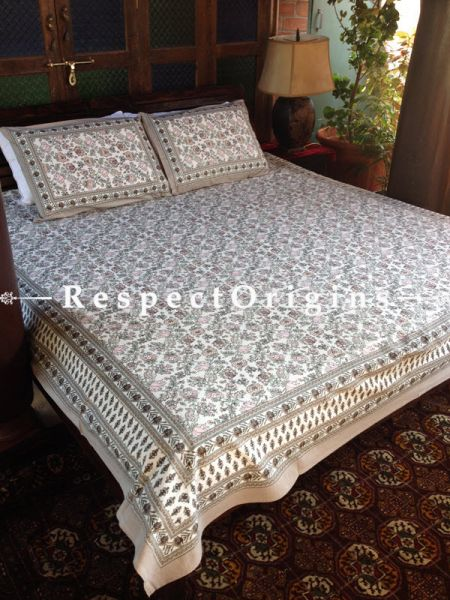 Graceful Pure Cotton King Bed Spread Set , White With Country Floral Motifs In Block Print; Bed Spread; 105 X 90 In; Pillow Shams; 30 X 20 In; RespectOrigins.com