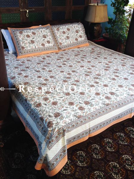 Swanky Pure Cotton King Bed Spread Set, White With Brown Country Floral Motifs In Block Print; Bed Spread; 105 X 90 In; Pillow Shams; 30 X 20 In; RespectOrigins.com