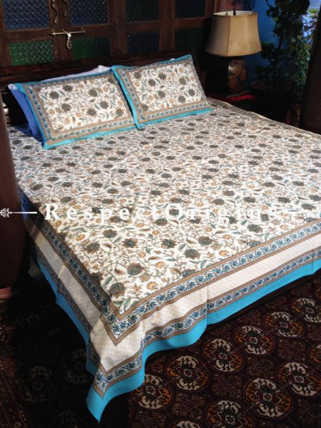 Pretty Pure Cotton King Bed Spread Set, White With Mustard & Dark Blue Country Floral Motifs In Block Print; Bed Spread; 105 X 90 In; Pillow Shams; 30 X 20 In; RespectOrigins.com