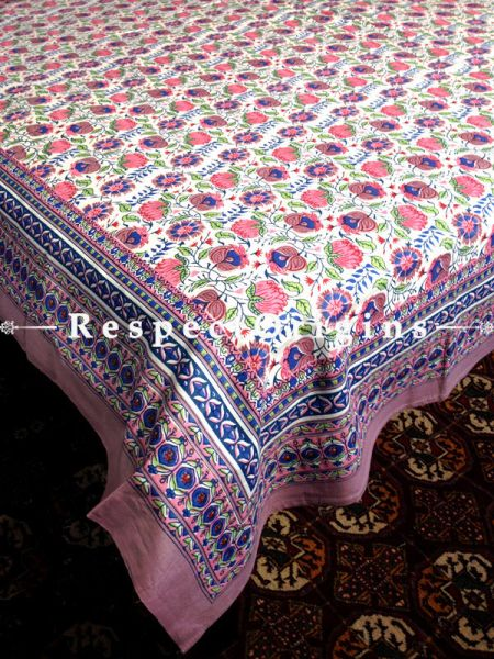Alluring Pure Cotton King Bed Spread Set, White With Red & Blue Country Floral Motifs In Block Print; Bed Spread; 105 X 90 In; Pillow Shams; 30 X 20 In; RespectOrigins.com