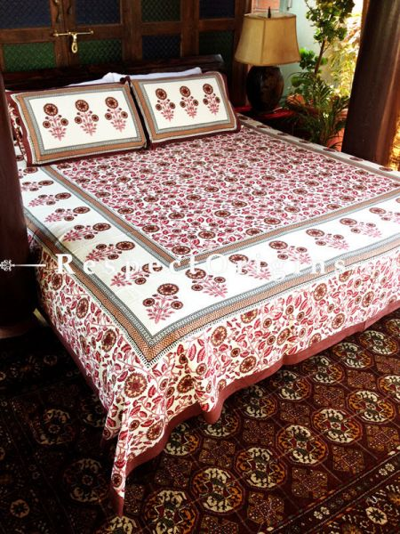Stylish Pure Cotton King Bed Spread Set, White with Red Floral Motifs in Block Print; Bed Spread; 105 X 90 In; Pillow Shams; 30 X 20 In; RespectOrigins.com