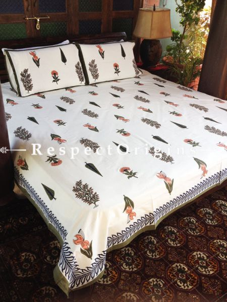 Luxurious Pure Cotton King Bed Spread Set, White with Colorful Country Floral Motifs in Block Print; Bed Spread; 105 X 90 In; Pillow Shams; 30 X 20 In; RespectOrigins.com