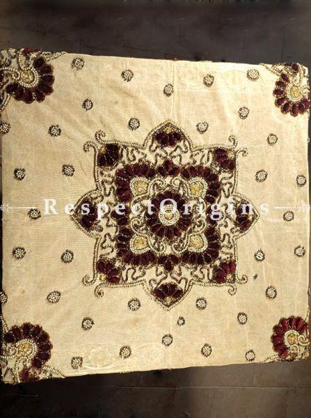 Buy Designer Square Table Runner on Beige Net with Beadwork, Velvet Petals, 40x40 in At RespectOrigins.com