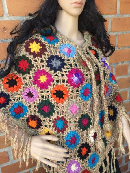 Hand Knitted Woolen Multicolor Crochet Ponchos With Sugar Cookie Base.RespectOrigins