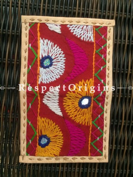 Visiting Card Holders; Genuine Handcrafted Leather; Pink, White & Yellow On Beige Kutchi Embroidery; RespectOrigins.com