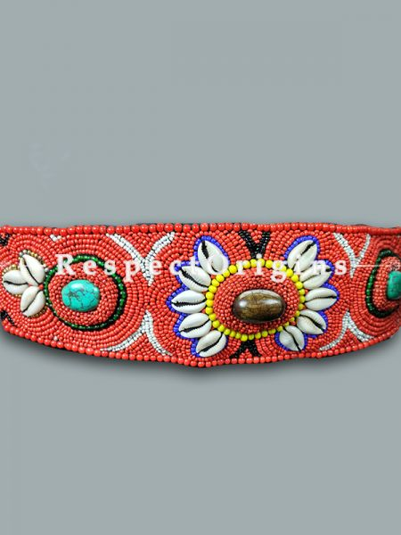 Buy Traditional Ladakhi Vintage Pendant Red Beaded Belt at RespectOrigins.com