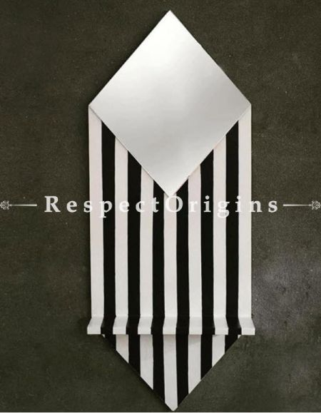 Buy Black and White Plywood Wall Shelf Mirror At RespectOrigins.com