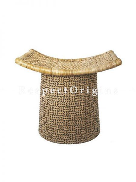 Buy Black Cane and Jute Ottoman At RespectOrigins.com