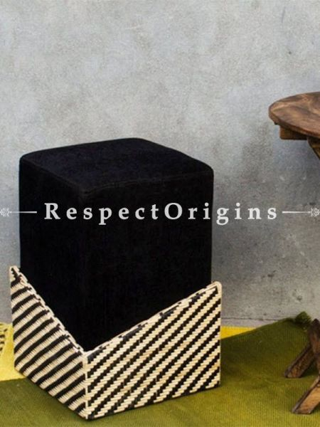 Buy Black Cane and Wood Ottoman At RespectOrigins.com