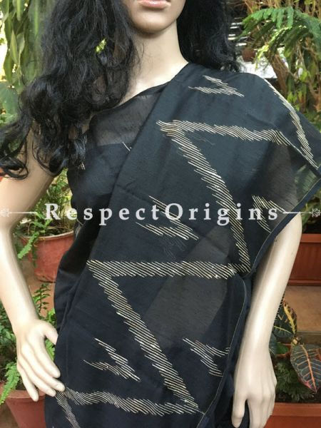 Black; Cotton; Hand Loomed Saree, RespectOrigins.com