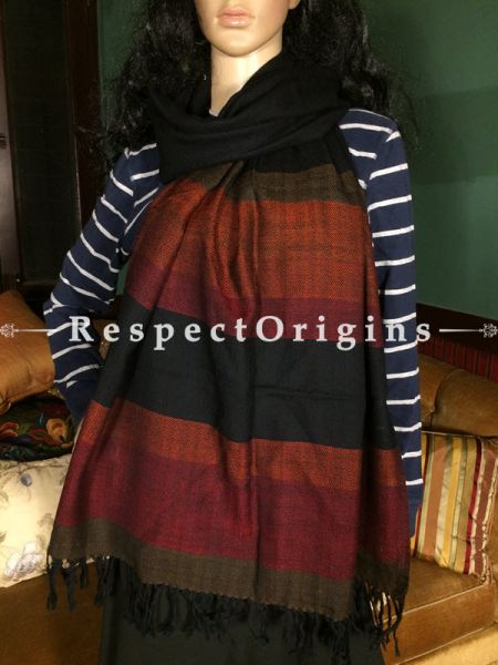 Buy Black Hand woven Woolen Kullu Stoles From Himachal with multiple borders; Size 80 x 27 inches at RespectOrigins.com