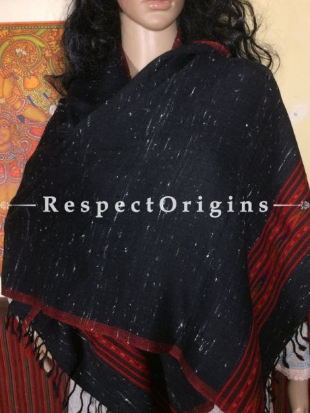 Buy Black Hand woven Woolen Kullu Stoles From Himachal with red border; Size 80 x 27 inches at RespectOrigins.com