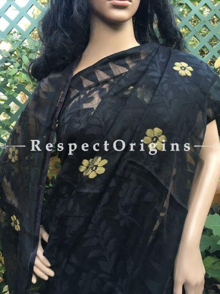 Black; HandLoom; Dhakai mul Cotton saree, RespectOrigins.com