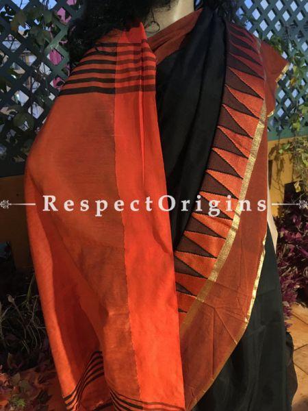Black; HandLoom Saree; Cotton Silk, RespectOrigins.com