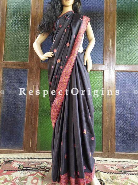 Jacquard Silk  Aari work Embroidered Black Saree  with Paisley motifs; RespectOrigins.com