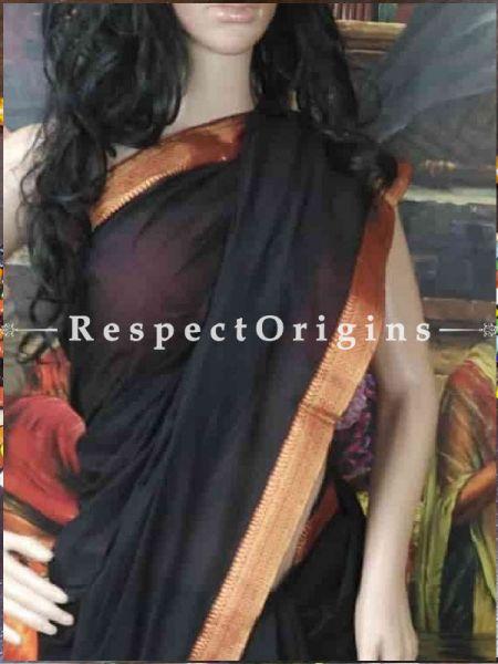 Buy Black Maheshwari Cotton Sarees; RespectOrigins.com
