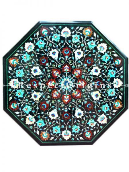 Buy Extravagant Marble inlay Table Tops or Pietra Dura Black Octagonal Marble Table Top with Turquoise Mother of Pearls Jasper and Malachite Semi Precious Stone; 2x2 Feet At RespectOrigins.com