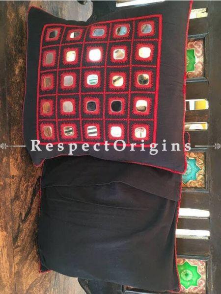 Buy Black n Red Lambani Mirror Work Tribal Square Cotton Cushion Covers; Pair At RespectOrigins.com