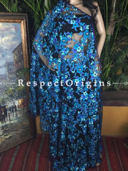 Buy Black Net Saree; Blue Parsi Embroidery At RespectOriigns.com