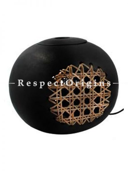 Buy Round Clay with Basket Weave Lamp Shade; Handcrafted Longpi Manipuri Black Pottery; Dia - 8 in; Chemical Free At RespectOrigins.com