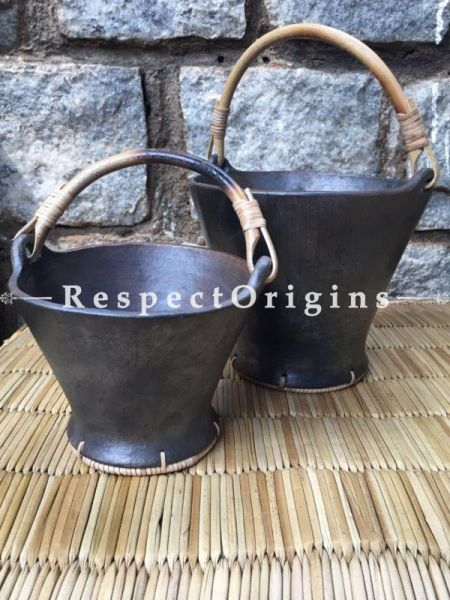Earthen Cook n Serve Pair of Pots with Cane Handles; Longpi Black Pottery Set;  Big - 6.7 x 8.5 In; Small 5 x 6.5 In; Each Serves 4; RespectOrigins.com