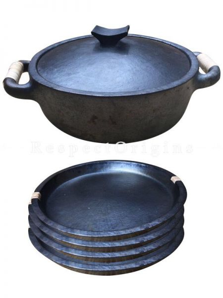 Cook and Serve From Oven or Stove to Table Longpi Black Pottery Organic Set Cooking Casserole Pot - 3.7 x 12.9 In. and 4 Plate Set - 10 In Dia.; RespectOrigins.com