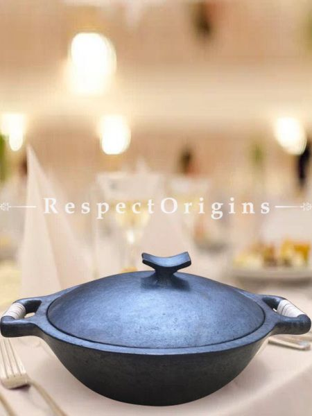 Cook and Serve From Oven or Stove to Table Longpi Black Pottery Organic Set Cooking Casserole Pot - 3.7 x 14.9 In. and 4 Plate Set - 10 In Dia.; RespectOrigins.com