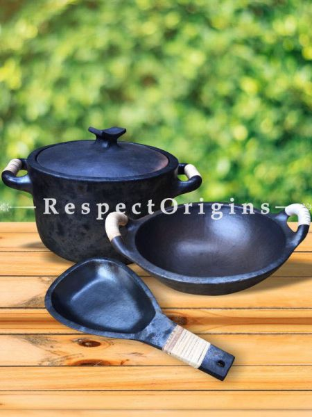 Cook and Serve From Oven or Stove to Table Longpi Black Pottery Organic Set Cooking Pot - 8 x 13 In. and Kadai/Wok Large - 4 x 13.5 In. and Ori Pan - 6 x 12.5 In.; RespectOrigins.com