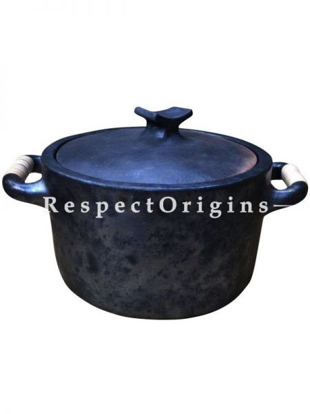 Longpi Black Pottery Set of 2 Cooking Pots with Lid;  Big - 8 x 13 In; Medium - 6 x 11 In; Set of 4 Plates - 10 In Dia.; Set of 4 Fruit or Soup Bowls; RespectOrigins.com