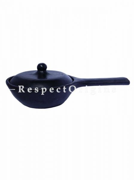 Buy Cooking Pot & Serving Bowl With Lid and Handle; Handcrafted Longpi Manipuri Black Pottery; 6 in Diameter; Chemical Free; Clay At RespectOrigins.com