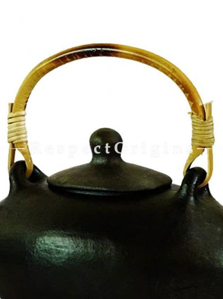 Buy Clay Oval Tea Kettle With Rattan Cane Handle; Handcrafted Longpi Manipuri Black Pottery; 9x4.5x4 in; Chemical Free At RespectOrigins.com