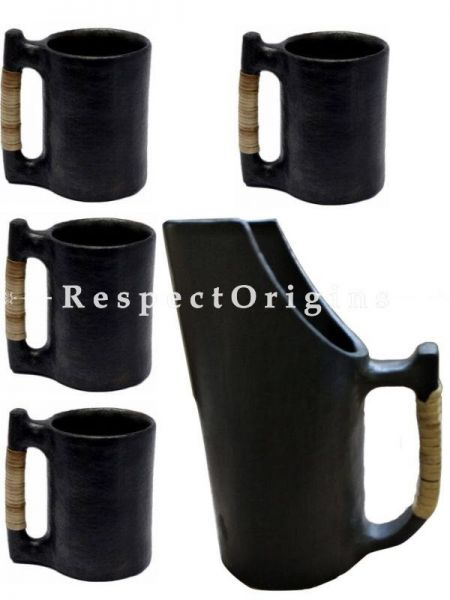 Handcrafted Longpi Manipuri Black Pottery Set of 4 Mugs - 5.5x3.5 in and a Mug - 4 x 9.5 In; Chemical Free ; RespectOrigins.com