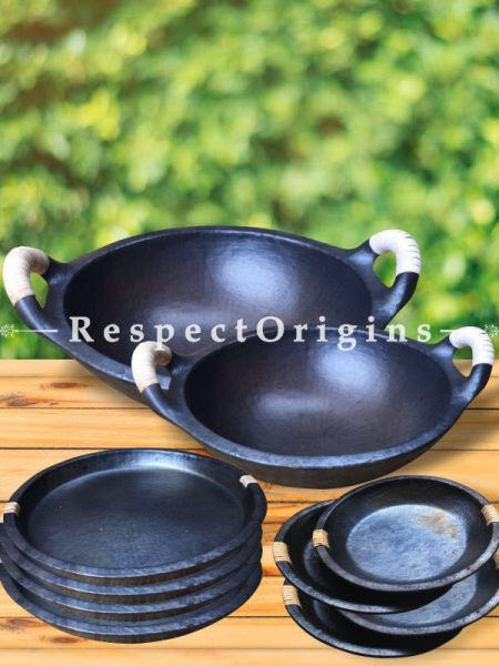 Longpi Black Pottery Set of 2 Kadai Wok Large 4 x 13.5 In. Small - 4 x 10.5 In; Set of 4 Plates - 10 In Dia.; Set of 4 Side Plates or Saucer 10 cm; RespectOrigins.com