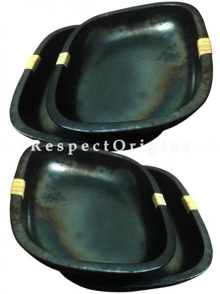 Set of 4 Rectangular Longpi Black Pottery Platters; Chemical Free; 4 x 20 x 17 cm; RespectOrigins.com