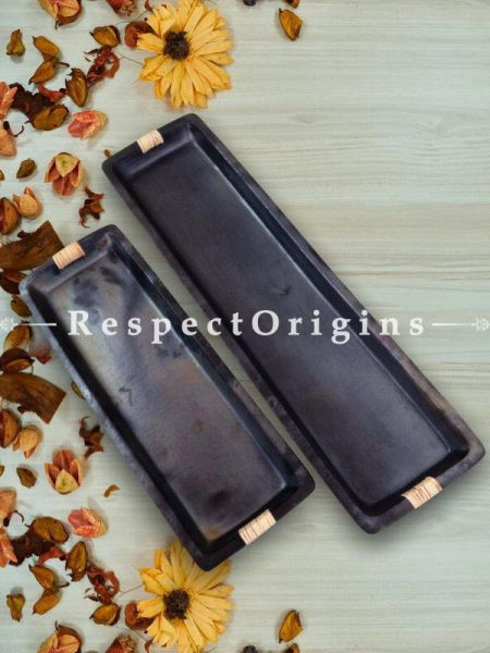 Set of 2 Rectangular Longpi Black Pottery Starter Plates; Large - 17 x 4.5 In. Small - 13 x 4 In.; Handcrafted and Chemical Free; RespectOrigins.com